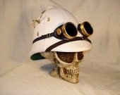 Instant Steampunk - Tick-Tock Pith Helmet and Goggles - working clock in a real pith helmet - Gold