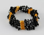 Magnetic Jewelry - Orange, Black and White - Necklace - Bracelet - Anklet - one of a kind
