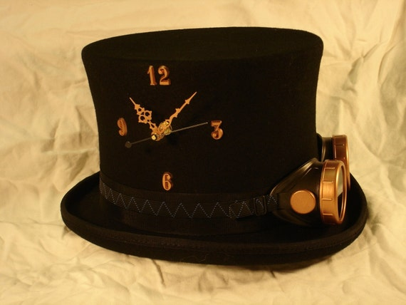 Instant Steampunk - Tick-Tock Top Hat and Goggles - working clock in a Medium wool top hat