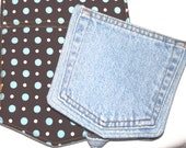 Denim Pot Holder made from Recycled Denim Jeans Polka Dots