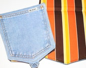 100% ORGANIC FABRIC Modern Stripes Denim Pot Holder made from Recycled Denim Jeans MonaLuna Birch
