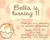 Adorable Cupcake Printable Customized Birthday Invitation - Very Sweet & Personalized