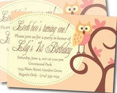 Adorable Owl Printable Customized Birthday Invitation - Girl Birthday - 1st Birthday - Look Hoo's turning One
