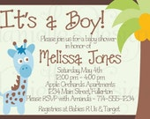 Its a Boy Printable Customized Blue Baby Shower Invitation - Jungle Giraffe