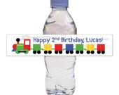 Personalized Birthday Water Bottle Labels with Train Theme - 1st Birthday - 35 labels
