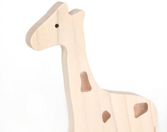NATURAL Genevieve the Wooden Rolling Giraffe Toy