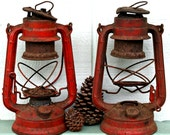 Red Winged Wheel 400 Made in Japan Kerosene Lanterns Pair