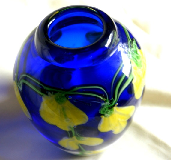 Vase Hand Painted Cobalt Blue  Molten Glass