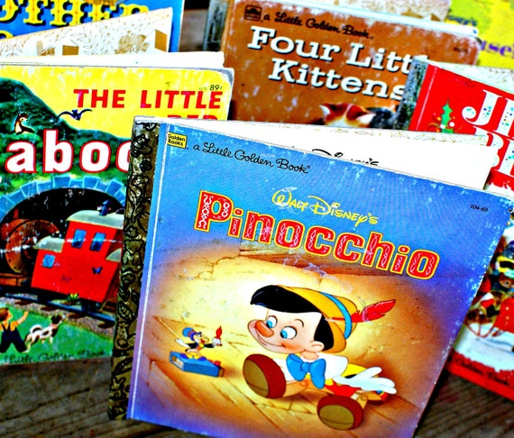 Adorable Set of Vintage 6 Golden Books Children Great Graduation Gift
