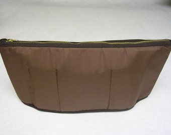 Purse To Go(R) Zip-Ups-Purse organizer insert transfer liner with Zipper(Zippered Pouch)Brown color-small size-Pockets inside to organize