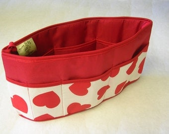 Purse To Go(R) Pockets Plus-Purse organizer insert transfer liner in Sweetheart Print- Small size Enclosed bottom