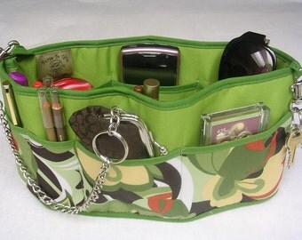 Purse To Go(R) Pockets Plus-Purse organizer insert transfer liner in Green Carnival Print - Small size Enclosed bottom