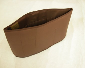 Purse To Go(R) Purse organizer insert transfer liner-brown color, small size- Enclosed bottom- Bucket type- Change purses in seconds