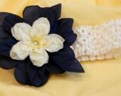 Penn State Blue and White Flower Hair Clip
