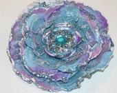 Glitter Lace Blue Flower Hair Clip