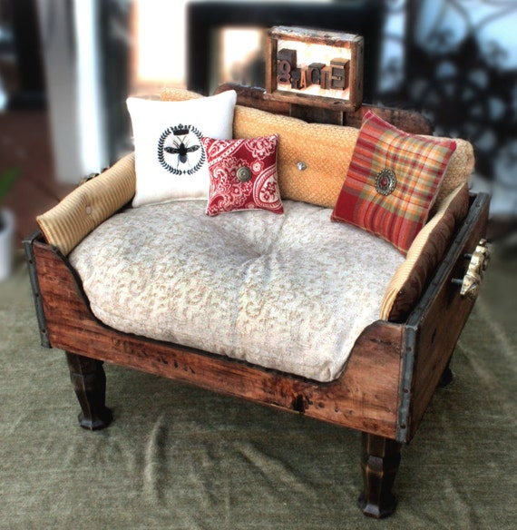 Reclaimed Wood Dog Bed, Gracie Pet Lounger