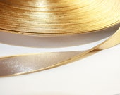 2yd-15mm Gold Line Artficiall Leather Ribbon -Beige(E231)