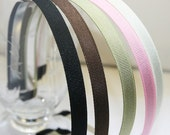 50pcs-10mm Metal Headbands covered with Grossgrain Ribbon, Handmade -Black,Brown,Pink,Ivory,Olive Green(E201-1)