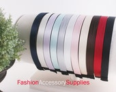 3pcs-15MM Handmade Satin Fabric Ribbon Teeth Plastic Headband 9Colors (sold out : black and white)- Choose color (G124)