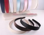 3pcs-25mm Handmade Satin Plastic Headband 11Colors- Choose Color(G122)