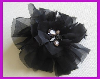 1pcs-100mm lovely chiffion flower with cubic-black(E262)