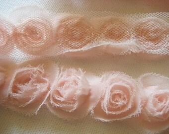 WHOLESALE-5yd organza little rose trim -Peach(D318-1)