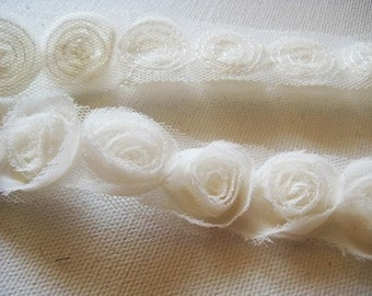 5yd organza little rose trim (G102-ivory))