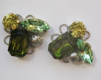 4pcs-23mm green stone motive with silver(D382-G)