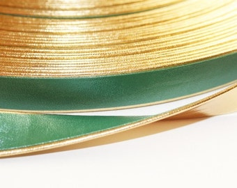2yd-10mm Gold Line Artificial Leather Ribbon-Green(E233)