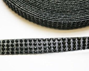 2yd-15mm Hotfix and Glitter Ribbon Tape-Black(E237)