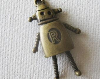 2PCS-Antique Bronze CAN Robot Pendent 34mm(A391)