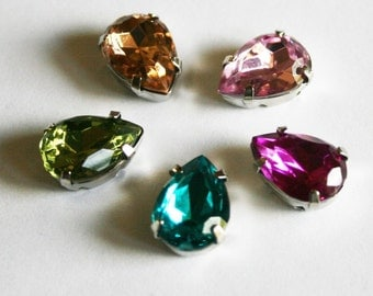 10pcs-10mmX15mm Fancy Water drop Cut  With Attachable Metal Wrap 5colors(A181-185)