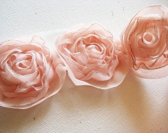 Organza Rose Trim  for hair accessory,clothing,deco,etc.1/2yd-9pcs(43mm)9colors Avail.  (D314-Peach)