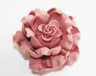 "2pcs-2 1/2""X H 1 1/4""Felt flower for corsage,shoes,accessory etc.-Indi pink(A187)"