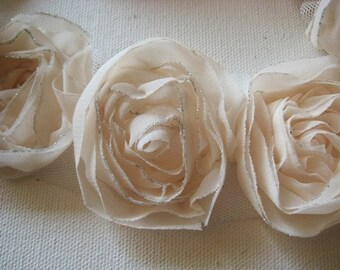 1yd-18pcs (43mm)organza rose trim 9colors (D314-Ivory)