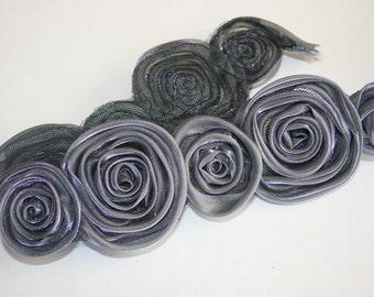 1/2yd organza 2size rose satin trim for corsage,necklace,hair accessory,etc -Dark purple(G100-DP)