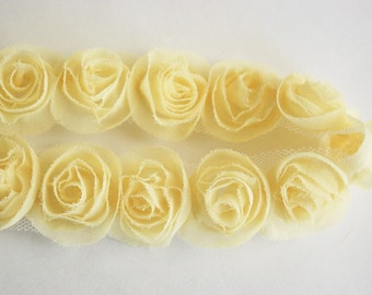 1/2yd organza little rose trim for art deco,accessory,clothing etc.( 7colors) -yellow(G102-Y)