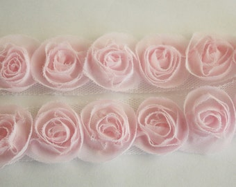 1yd organza little rose trim for art deco,accessory,clothing etc.( 7colors) -Pink(G102-Pi)