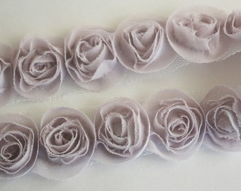 1yd organza little rose trim for art deco,accessory,clothing etc.( 7colors) -Lilac(G102-L)