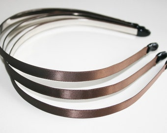 3PCS-10MM satin headband with end rubber tip-BROWN(E260-B)