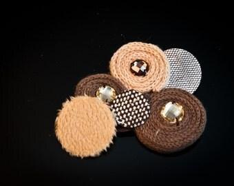 4pcs-90mm-Brown Fabric Motive With RhinestonsMotive For Accessory,jewelry,art deco,Bag,ETC.((B151)