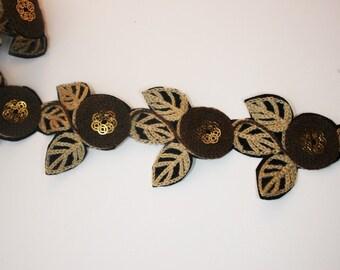 1yd-36pcsMachine Embroidery Desigins Brown Flowers Trim Lace(B160)
