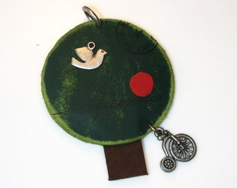 1Pcs-70mm Green Round Leather Tree Pendant For Jewelry,Accessory,Art deco,etc.(A409)