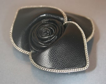 50% off 2pcs-60mm-Leather Flower With Chain For Accessory,Jewelry,Shoes,bag,ETC.(B148-Black)
