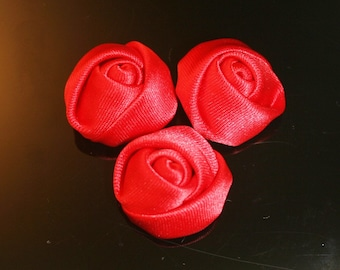 Satin Roses Flower Small 10Pcs-25mm 7Colors (F201-Red)