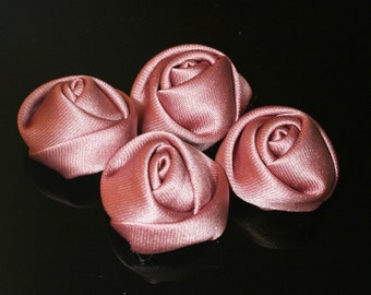10Pcs-25mm 7Colors Small Satin Roses Flower (F201-Indipink)