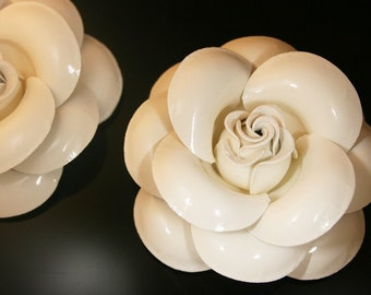 2Pcs-60mm 7Colors Enamel Rose For Accessory,Jewelry,Deco,Shoes,ETC.-(F232Ivory )