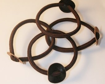 100PCS-Black hair elastic ponytail ring with 20mm leather circle(C113-BR)