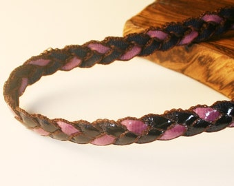 4Yd-8mm Two Colors Twist Shine Ribbon 8colors-(F236-Purple/Black)