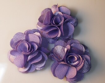 5Pcs-25mm 10Colors Small Satin Flower (F220-Purple)